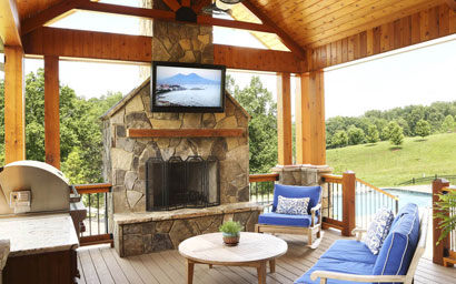 service area for outdoor entertainment audio vidoe electronics like weather-resistant TV screens